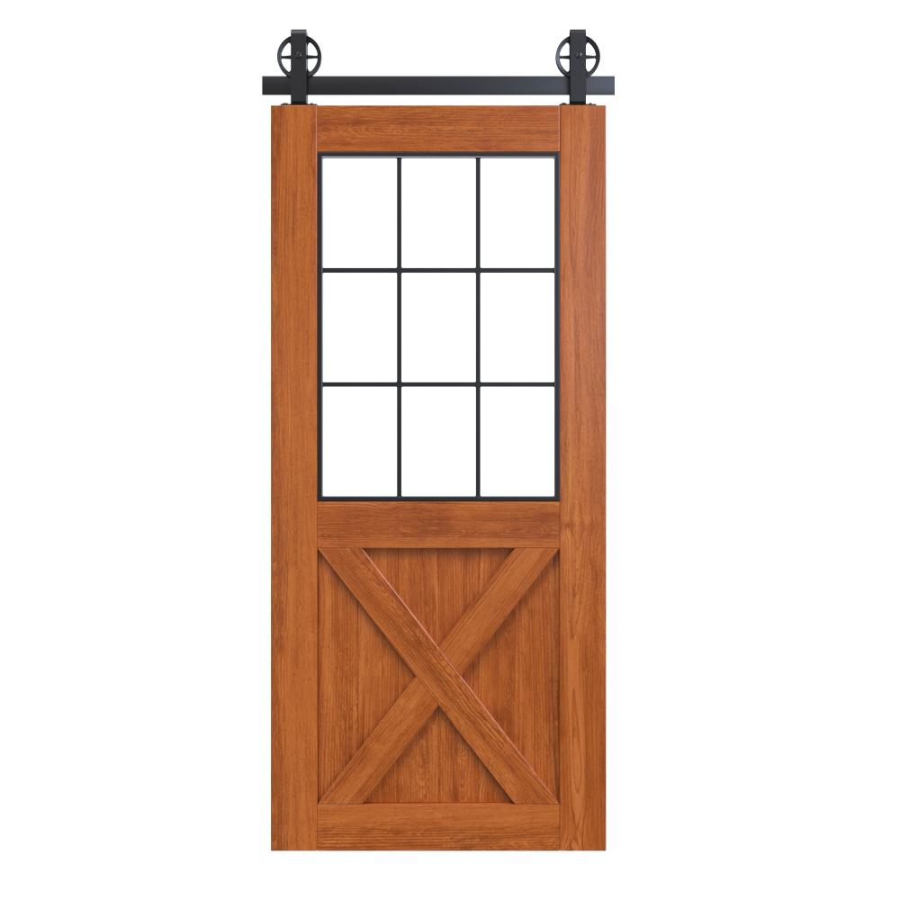 Rustic Half X Bypass French Barn Door