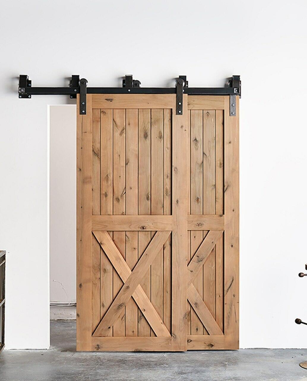 unfinished wood half x panel barn door