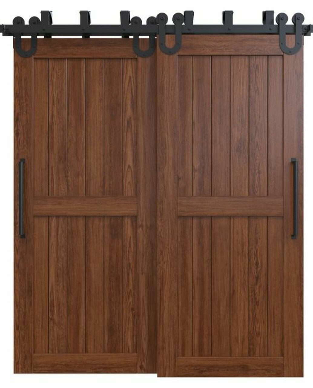 naples dark stained wood 2 panel bypass barn door