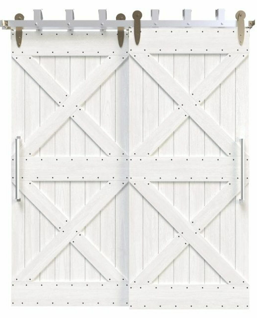 newport white painted wood bypass barn door with double x board and batten design