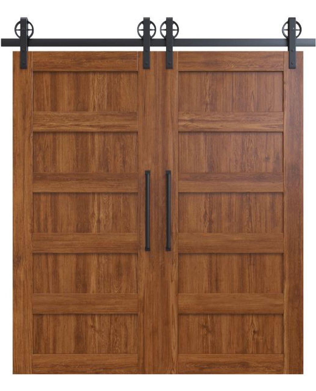 stained wood 5 panel double barn door