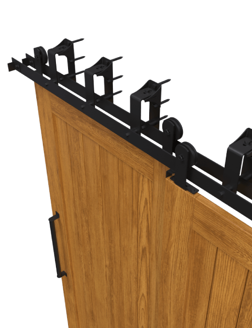 side view top mount bypass barn door hardware black finish