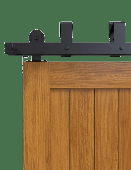 top mount bypass barn door hardware black finish