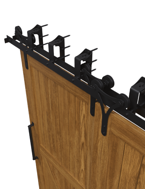 side view y style strap bypass barn door hardware