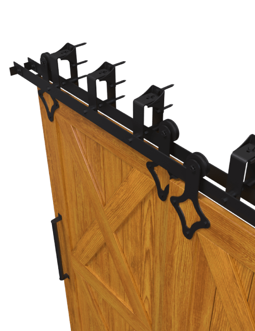 side view ranch diamond style strap bypass barn door hardware