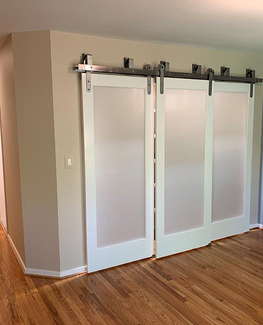 minimal modern triple bypass barn door hardware