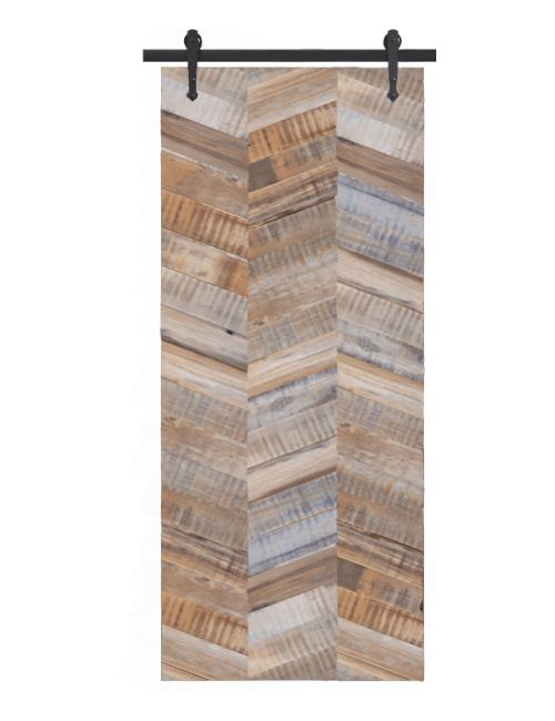 gray madison reclaimed wood triple herringbone barn door