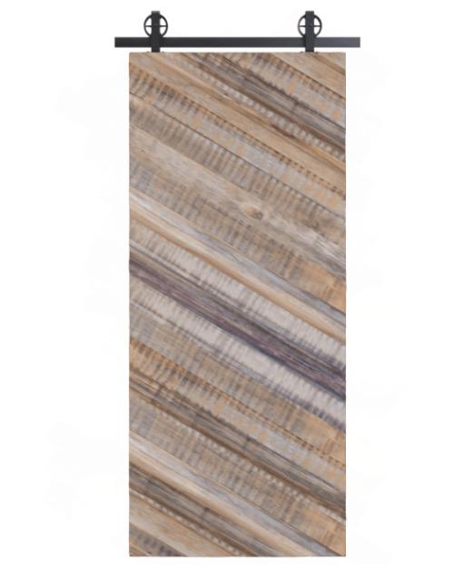 gray lincoln reclaimed wood diagonal pattern barn door