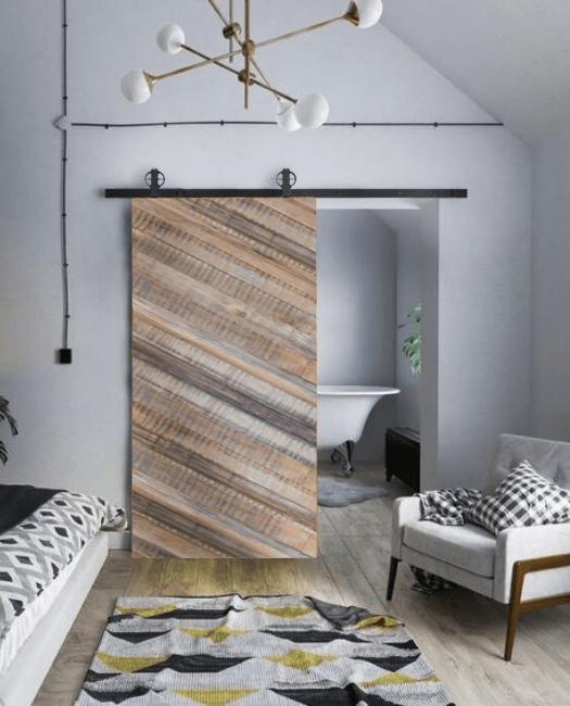 Lincoln Reclaimed Wood Barn Door - Gray Lifestyle Bathroom