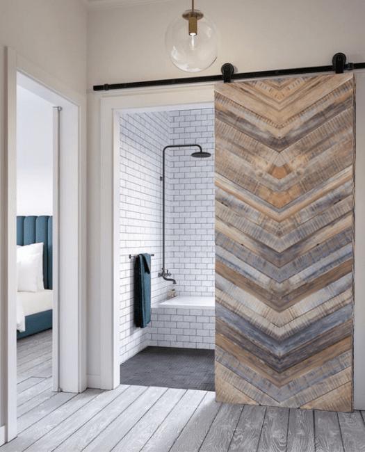 Franklin Reclaimed Sliding Barn Door - Gray - Lifestyle bathroom