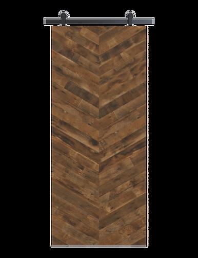 reclaimed wood brown vertical double herringbone barn door
