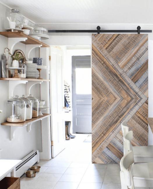 gray monroe reclaimed wood arrow pattern barn door in kitcen