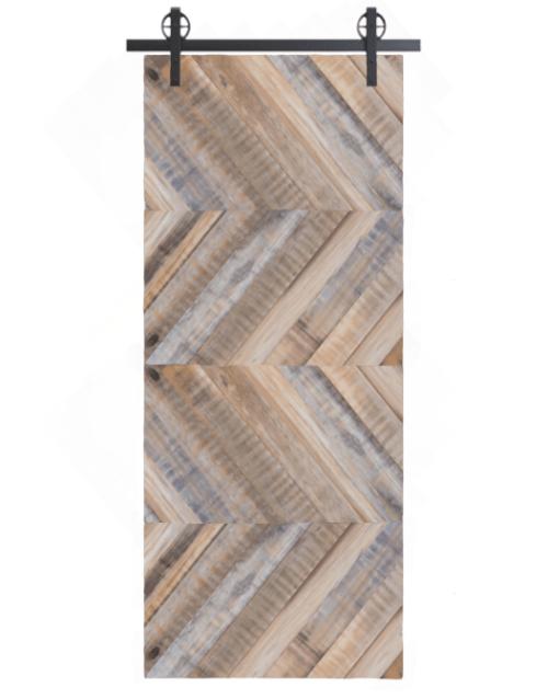 gray clark reclaimed wood horizontal quadruple herringbone barn door