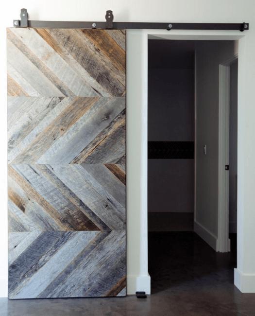 gray clark reclaimed wood barn door lifestyle - closet