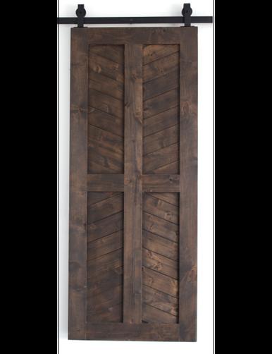 dark stained wood 4 panel chevron barn door
