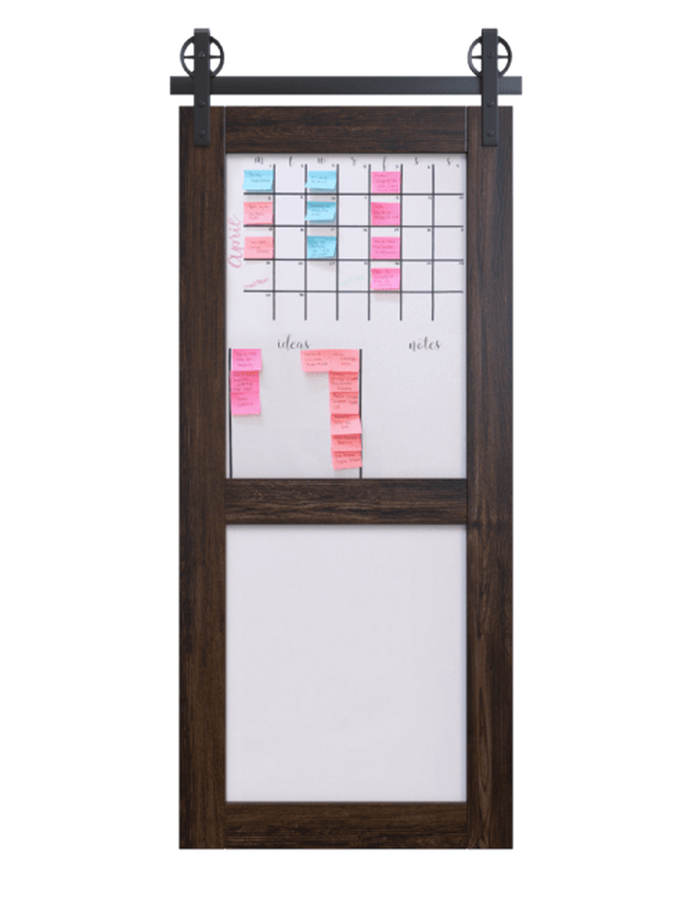 dark stained wood with whiteboard 2 panel barn door