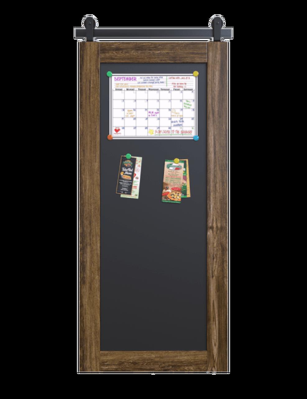 wood barn door with full magnetic panel