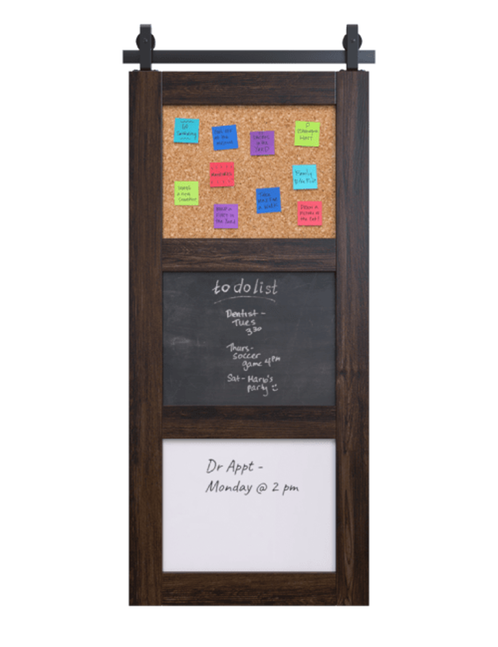stained wood 3 panel barn door with chalkboard corkboard and whiteboard
