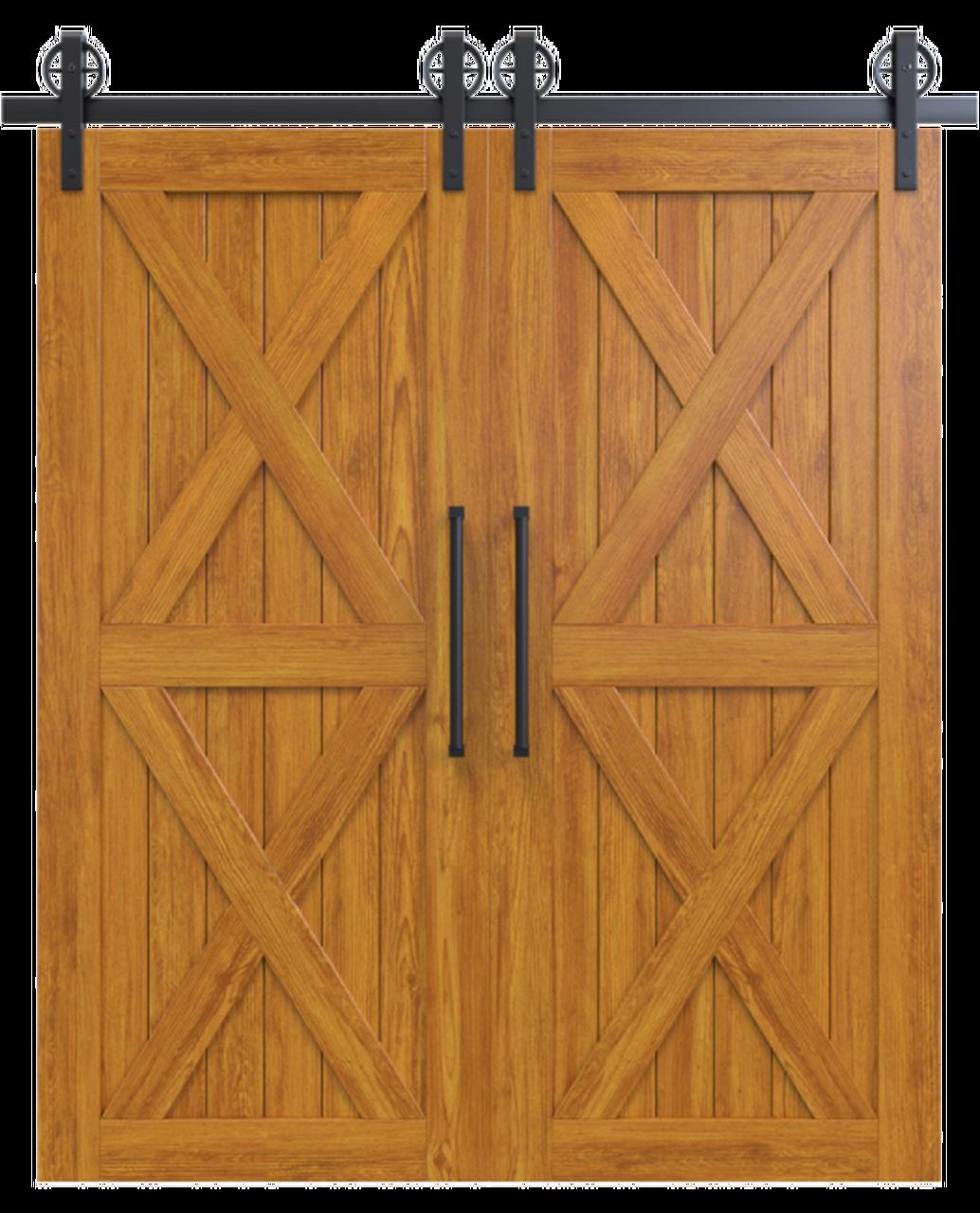 nantucket stained wood double barn door with double x panel