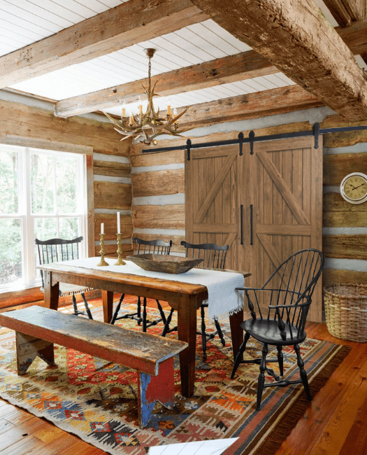 Stowe Double Sliding Barn Door - Lifestyle Dining Room Cabin