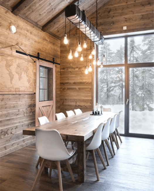 Rustic Half X French Sliding Barn Door - Lifestyle Chic Cabin Dining Room