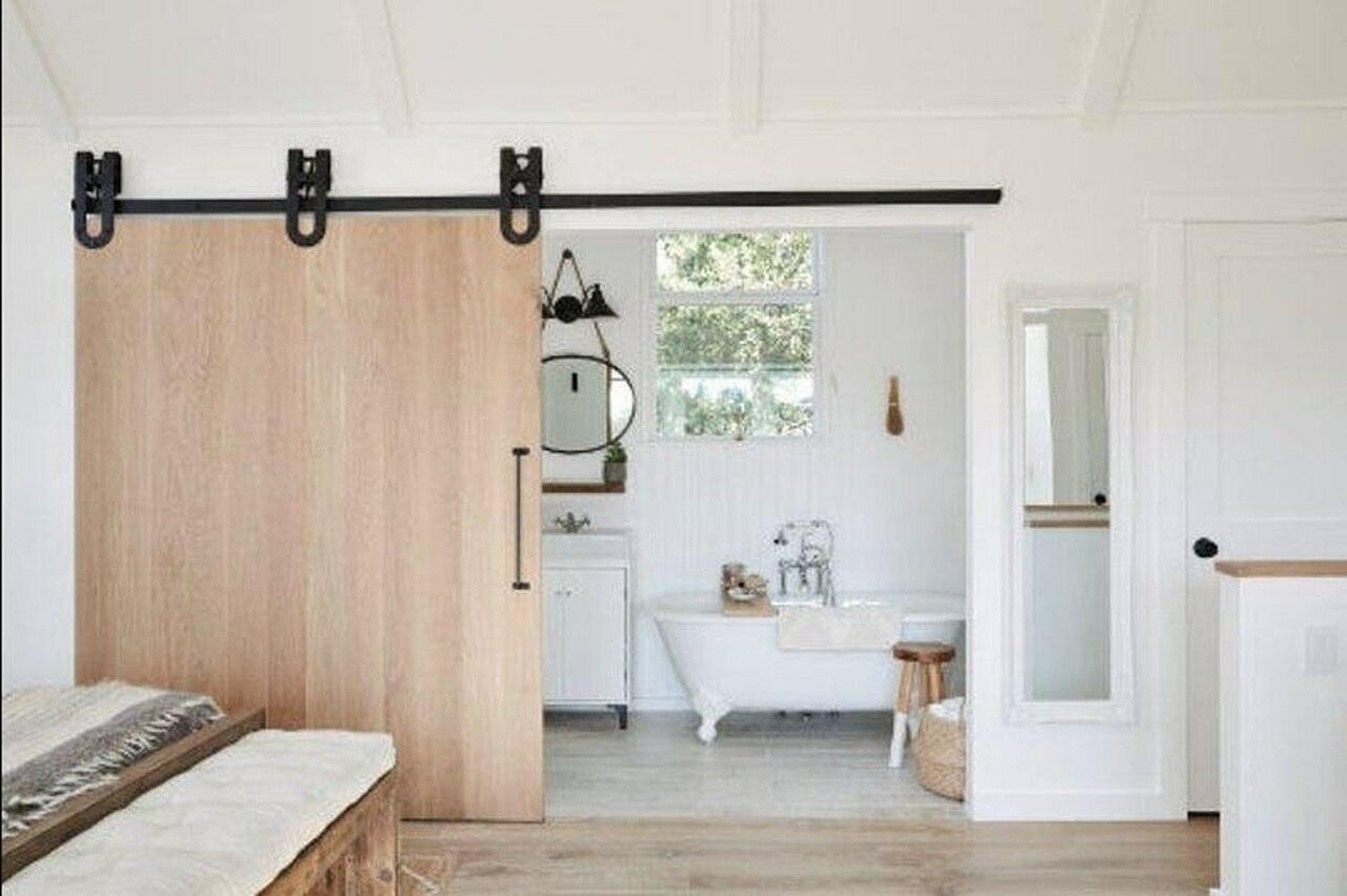 oak slab wood bathroom double barn door