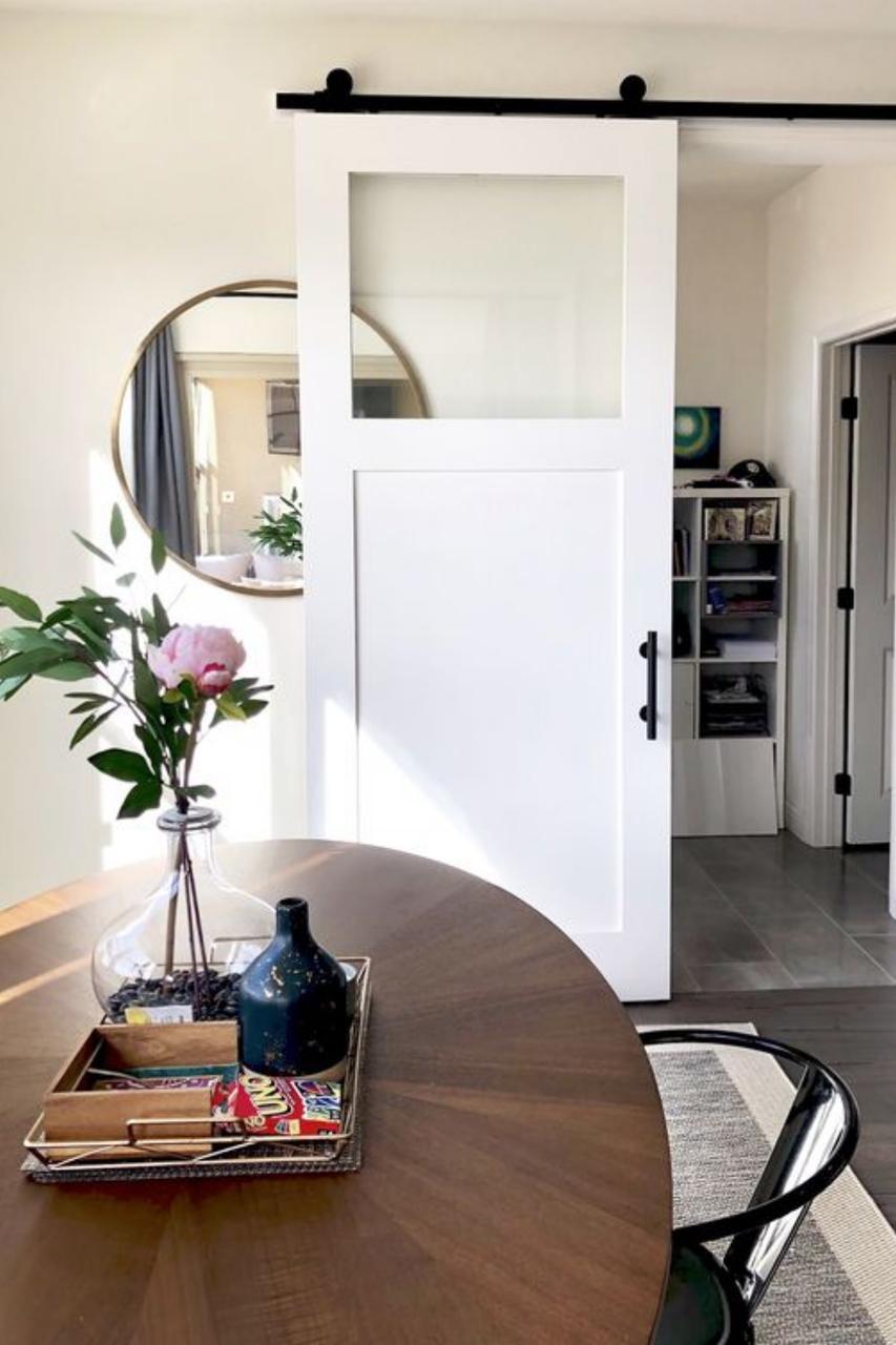 Fully Custom kitchen Sliding Barn Door with window and single wood panel