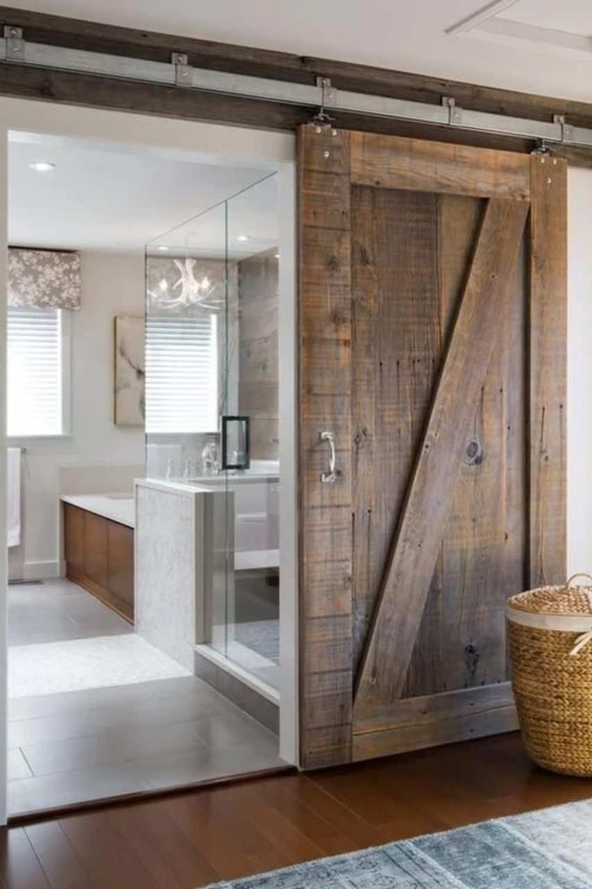 Locally sourced real wood Fully Custom Sliding bathroom Barn Door