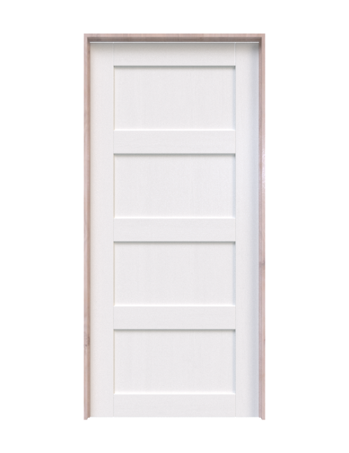 wood white painted 4 panel interior barn door