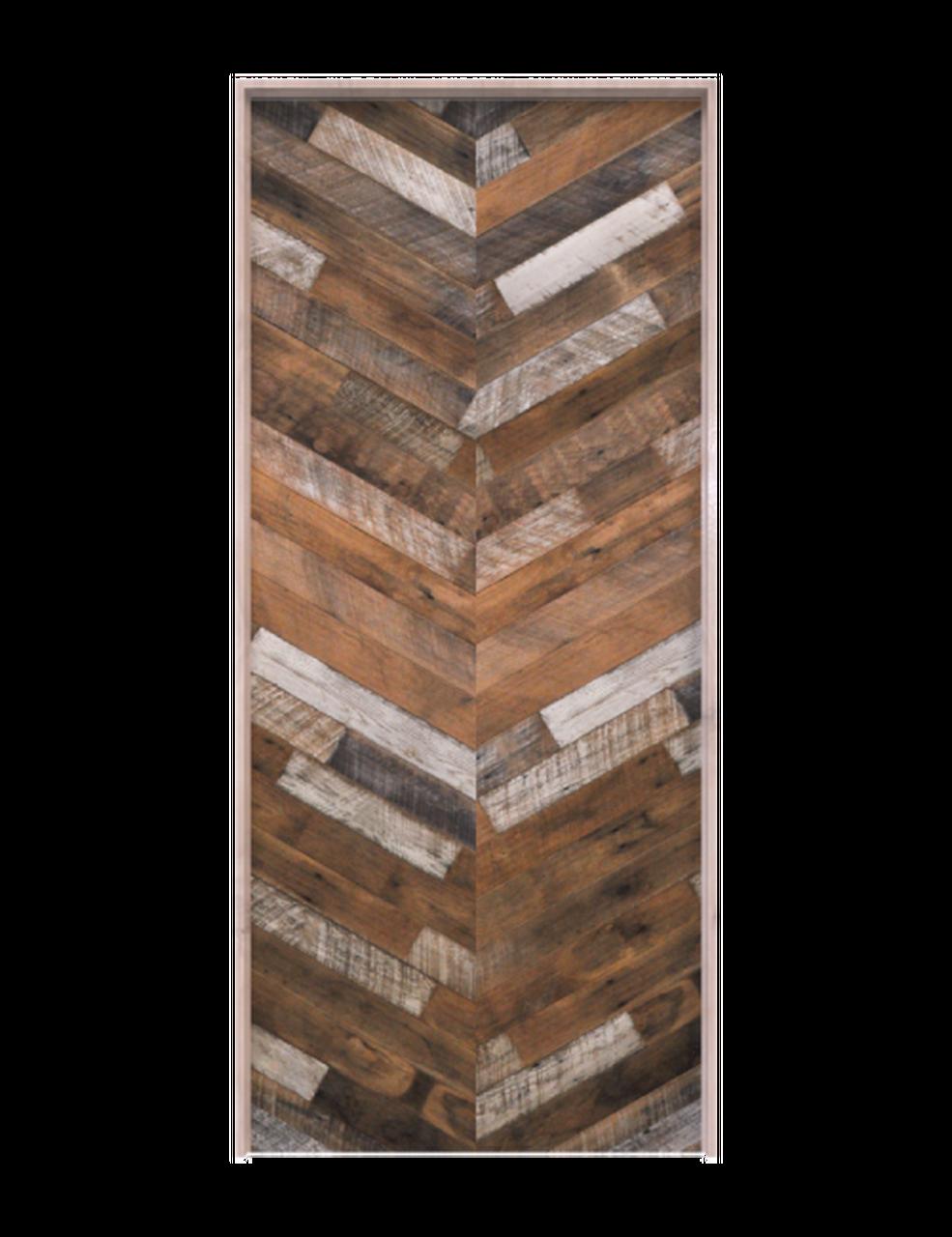 wood herringbone single barn door