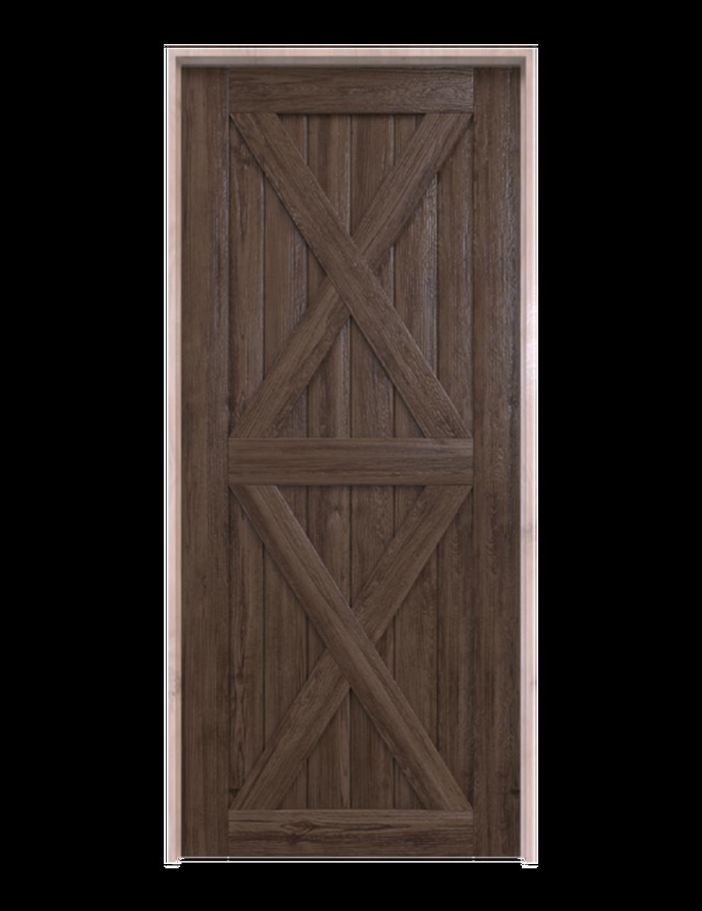nantucket dark stained wood barn door with double x panel