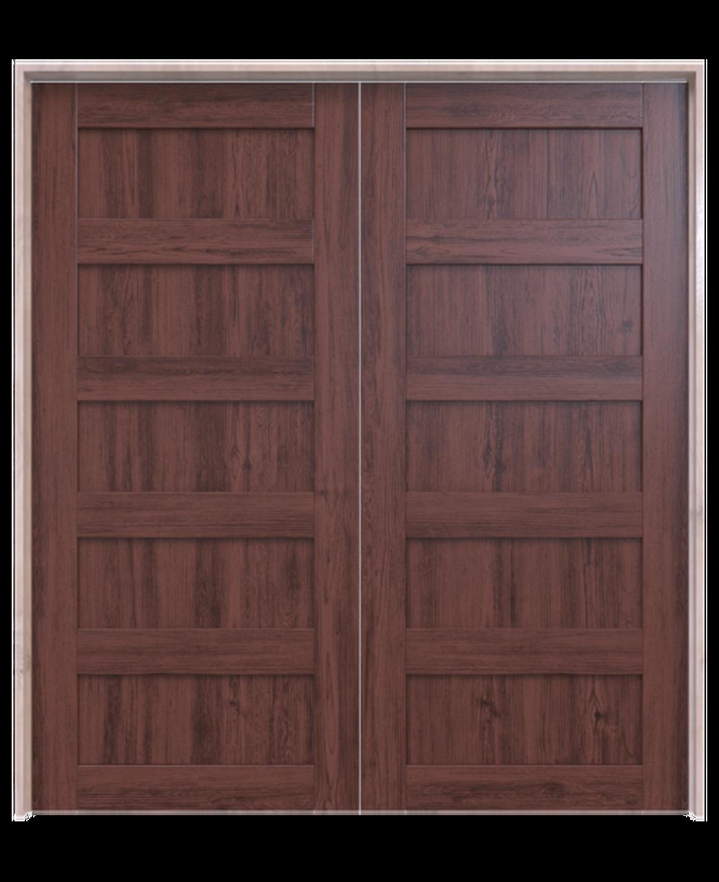 dark stained wood 5 panel double barn door