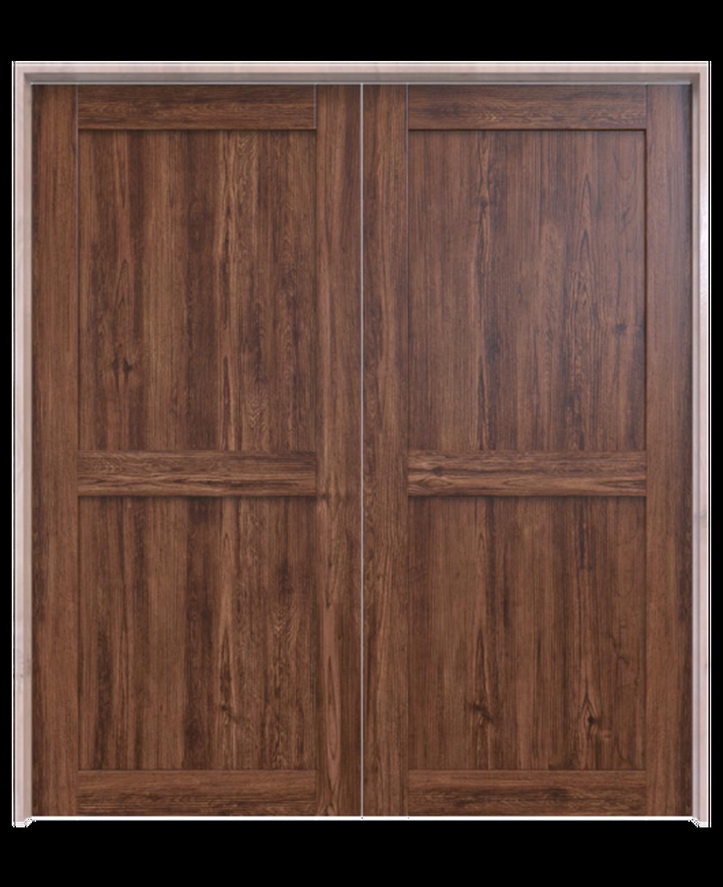 wood 2 panel double barn door