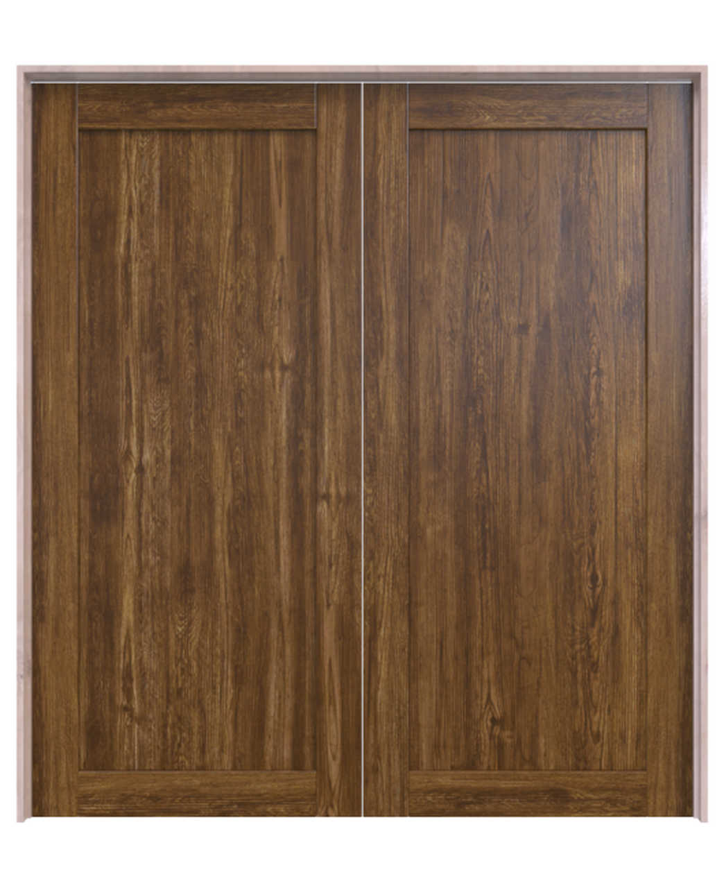 stained wood full pane double barn door