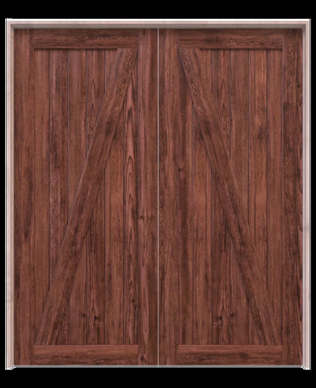 juneau wood dark stain classic z double barn door