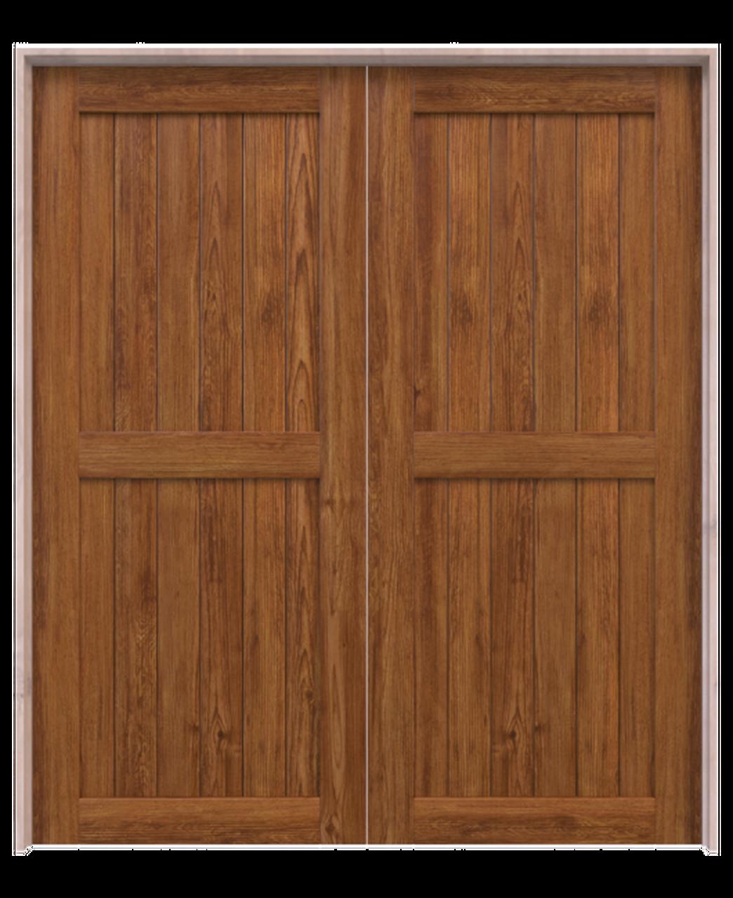 naples stained wood 2 panel double barn door