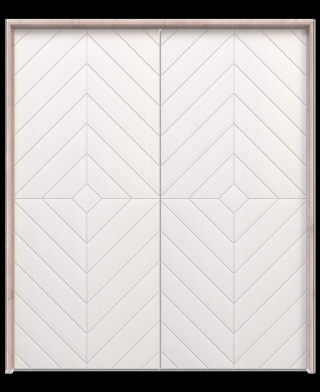 white painted wood diamond double barn door