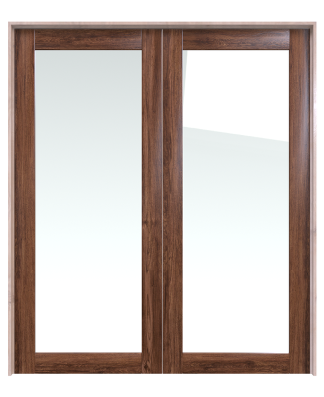stained wood double barn door with full pane glass