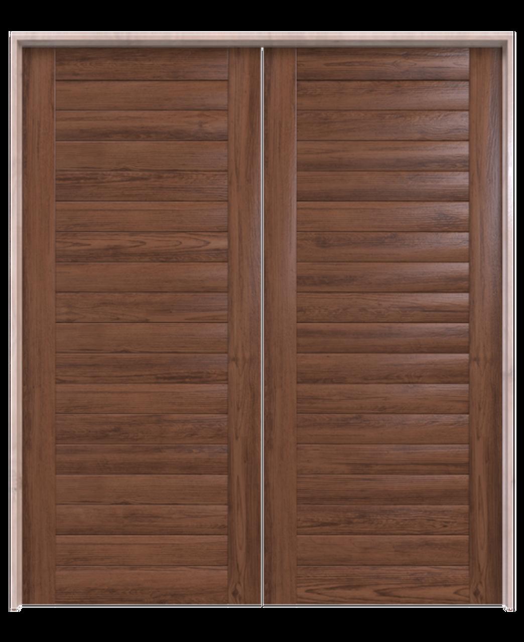 wood walnut horizontal full panel double barn door