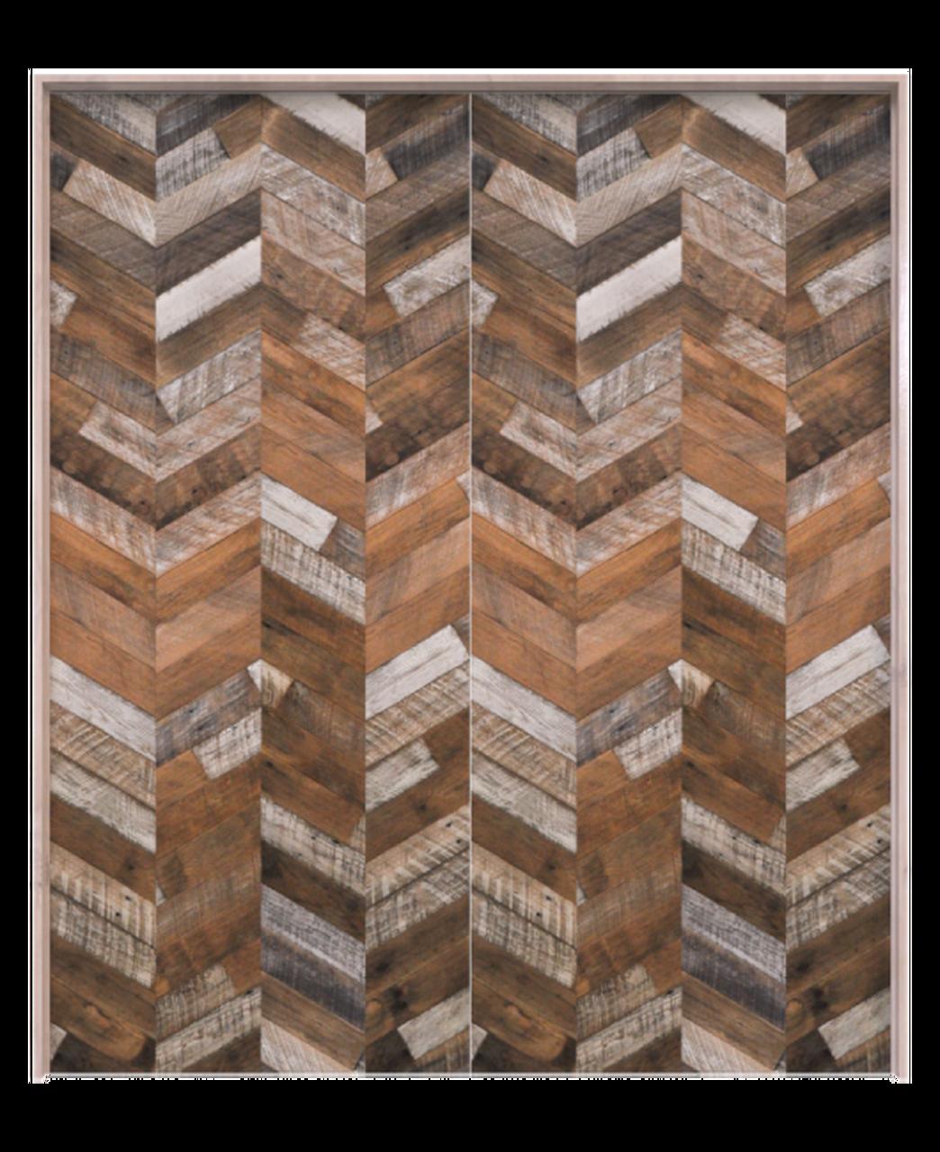 rustic wood chevron pattern double barn door