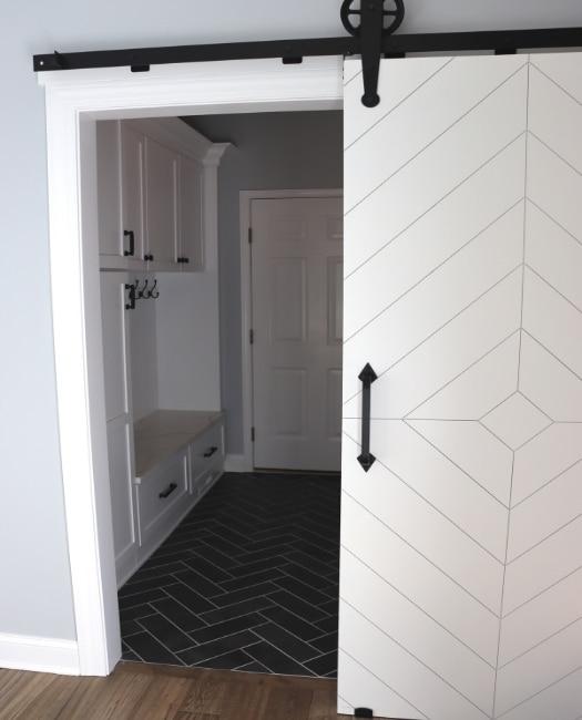White Diamond Barn Door To Laundry Room