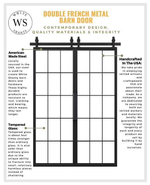 Double French Metal Sliding Barn Doors Materials Chart