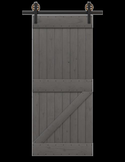 charcoal painted board and batten barn door (Benjamin Moore Kendall Charcoal HC-166)