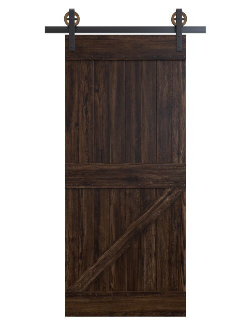 dark wood stained traditional barn door with diagonal panel