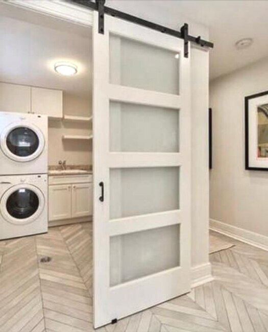 4 panel frosted glass laundry room single barn door