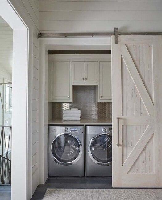 Rustic White Classic Diagonal Panel Laundry Sliding Barn Door