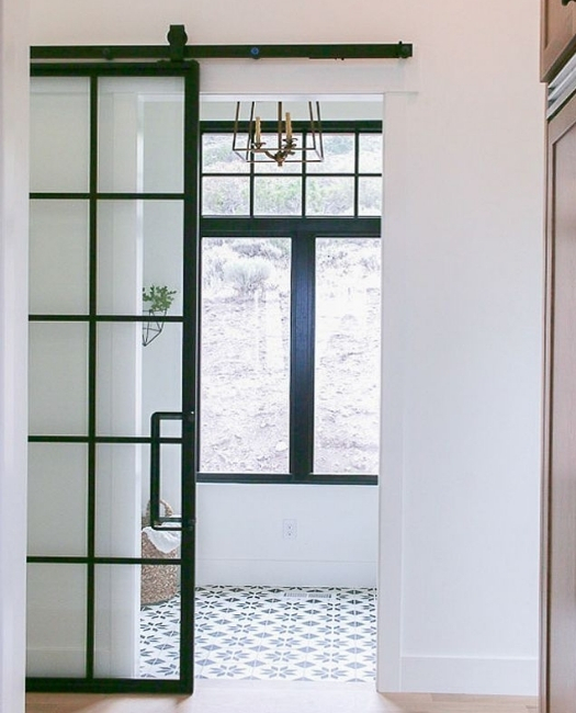 Fully Custom French Style Sliding Barn Door Lifestyle Hallway