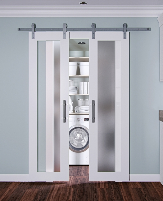 Double White Wood Frosted Glass Laundry Sliding Barn Door