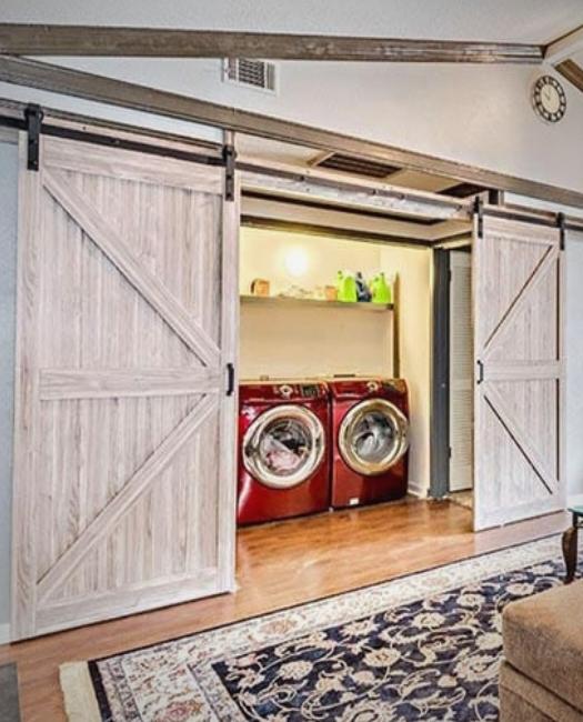 Natural Wood Double Laundry Sliding Barn Door