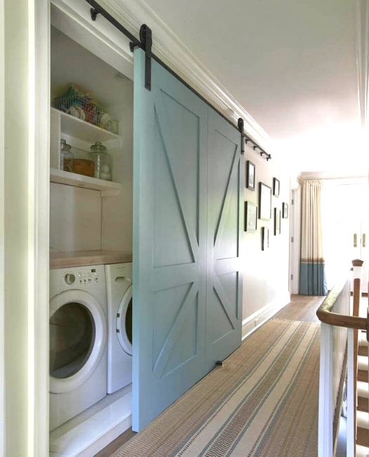 Painted Blue Wood Laundry Sliding Barn Door Upstairs